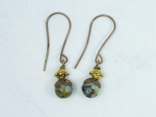 African Turquoise Brass Earrings