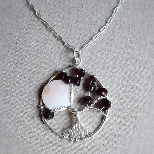 Mother of Pearl and Garnet Tree of Life