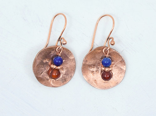 Lapis & Carnelian Penny Earrings