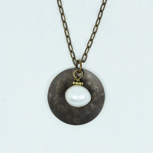 Freshwater Pearl Hammered Metal Necklace