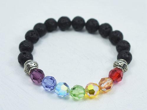 Chakra Swarovski & Lava Rainbow Bracelet