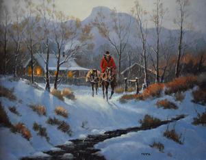 Horseman Traveling on Cold Night