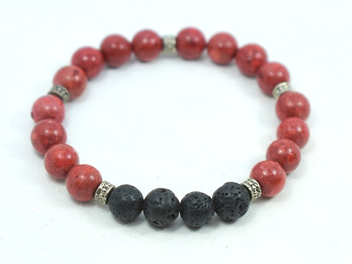 Coral & Lava Bracelet