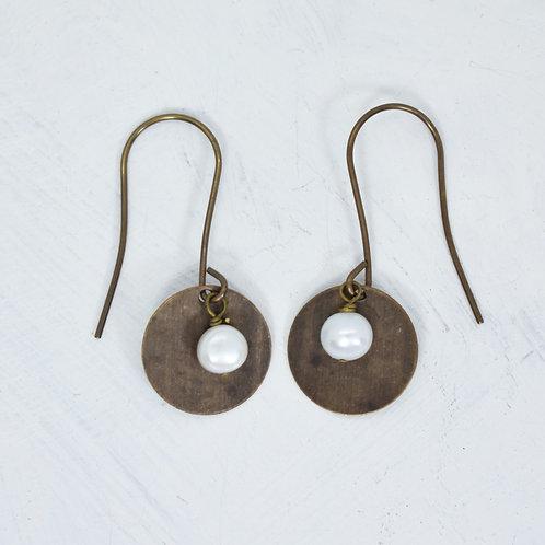 Freshwater Hammered Brass Earrings