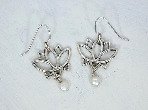 Lotus Flower Pearl Earrings