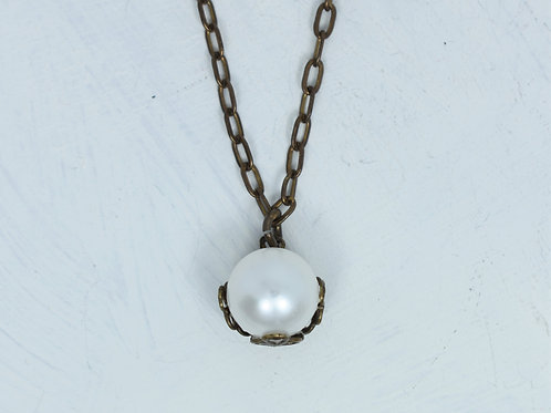 Freshwater Pearl Brass Necklace