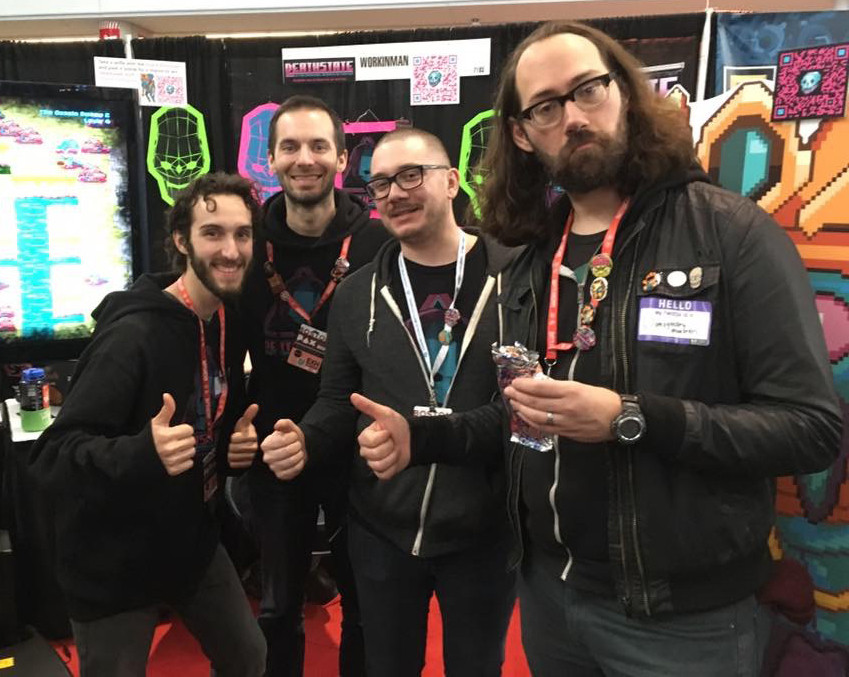 The PAX East Deathstate Crew: (Right to Left) Devin Strehle, Matt Eduardo, Matt Leffler and Pete Lazarski
