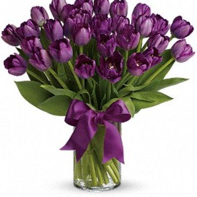 Arreglo 30 Tulipanes Holandeses Morados V Flores Y Dulces