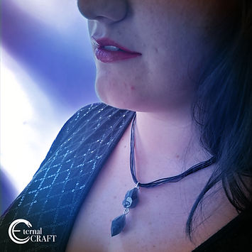 Emma Smith models the double drop jewell neckless.