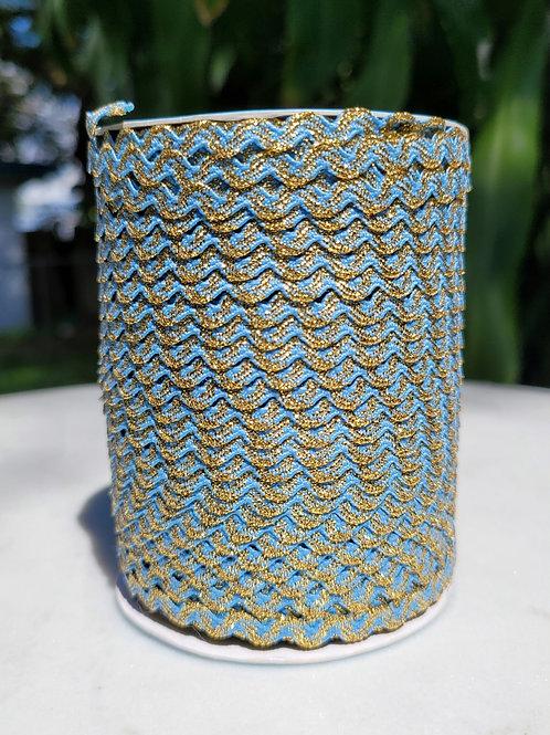 Light Blue w/Metallic Gold - 109 yards