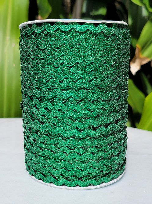 Metallic Green Ric Rac - 109 yards