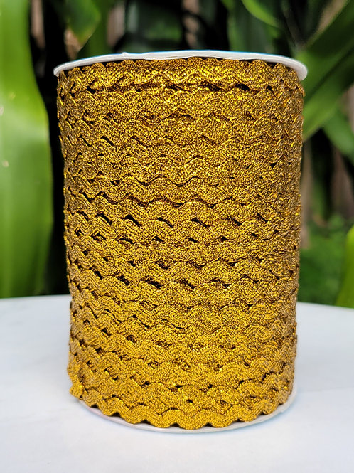 Metallic Yellow Ric Rac - 109 yards