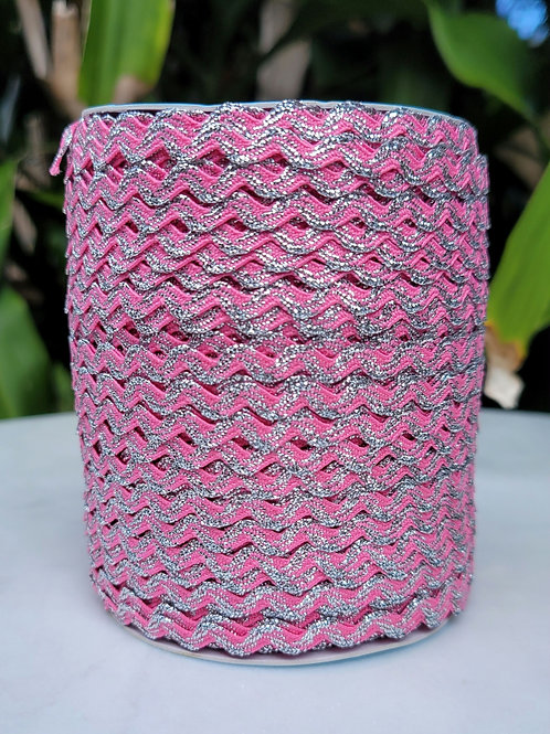 Hot Pink w/Metallic Silver - 109 yards