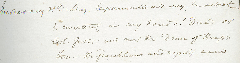 Tyndall's journal announcing his laboratory success