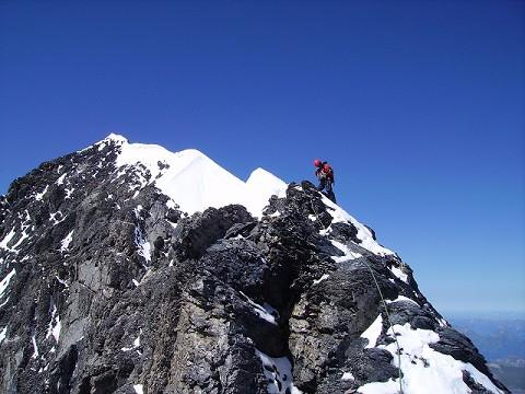 On the summit ridge of the Eiger