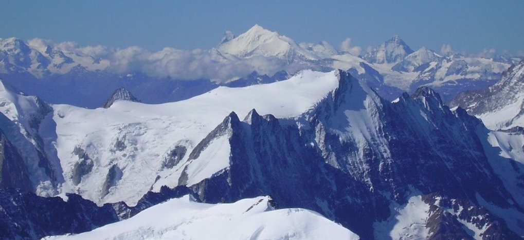 Weisshorn and Matterhorn from the Ebnefluh