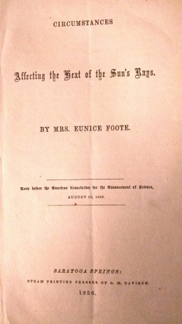 Eunice Foote's 1856 paper
