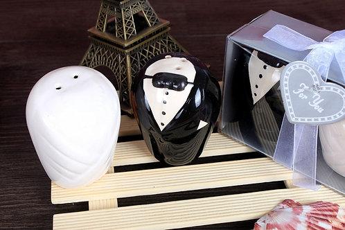 High Quality Wedding Souvenirs gift bride and groom Ceramic salt pepper shaker