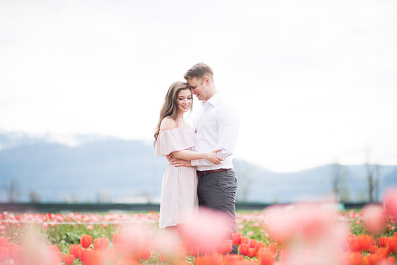 Janelle and Linden. Tulip Festival Engagement