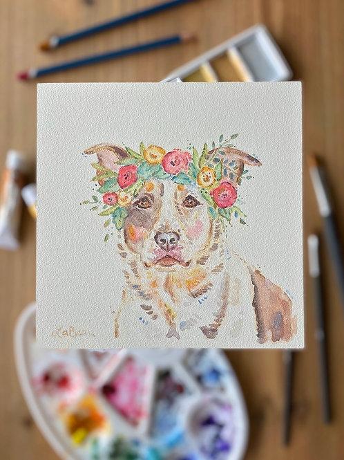 Shimmering Gold Pet Portrait | Watercolor on aquabord | 6x6