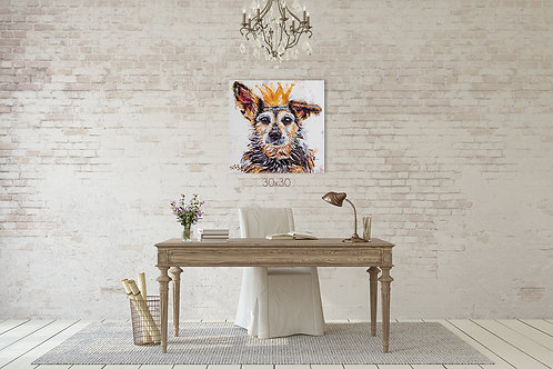 36x24 or 30x30, CUSTOM Colorful Pet Portrait