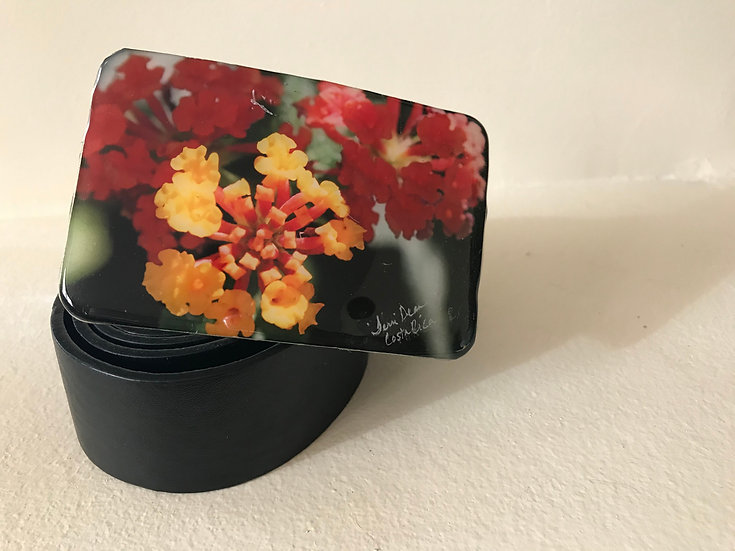 Red/Yellow Flower Belt Buckle
