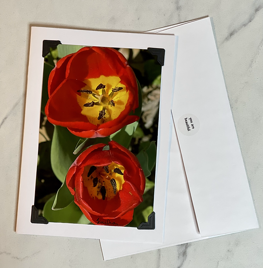 Greeting Card - 2 red tulips