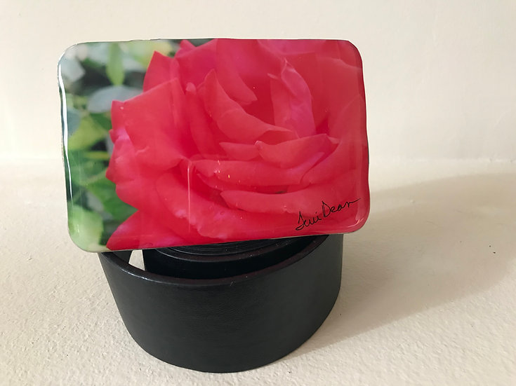 Red Rose Belt Buckle
