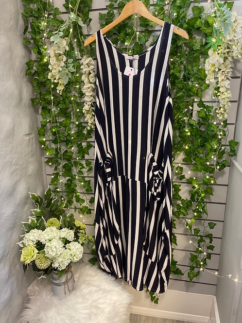 Stripy dress navy