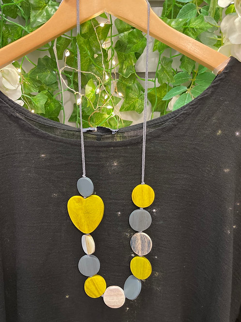 Wooden yellow and grey coloured heart necklace
