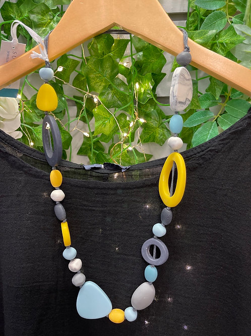 Blues, yellow and grey Multi circle necklace
