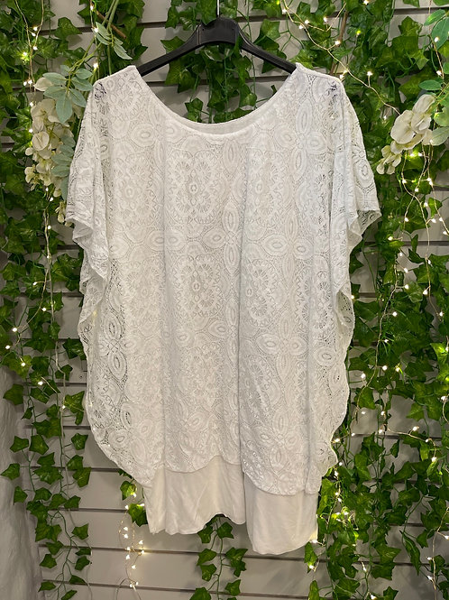 Lace stretchy top white