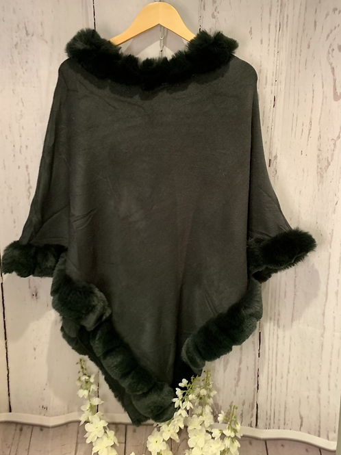 Fine knit fur trim poncho