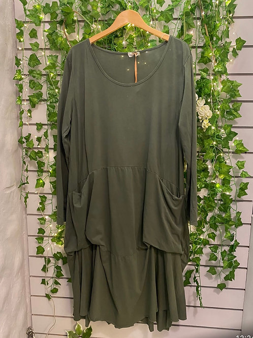 Slouch pocket dress khaki