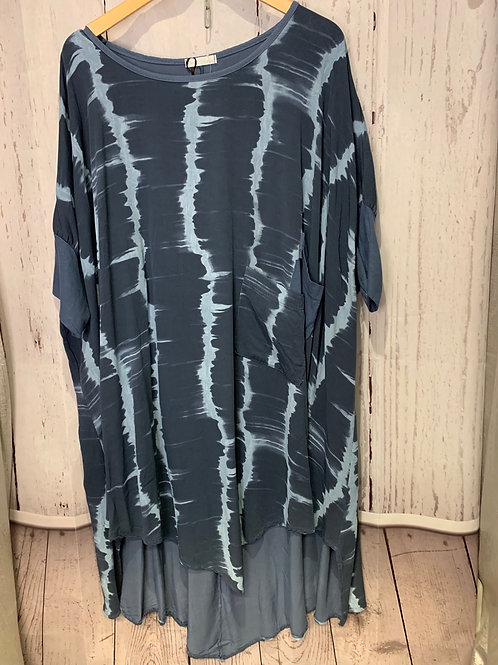 Marble print over sized top