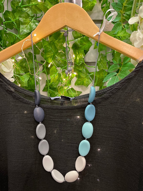 Grey and blue pebble necklace