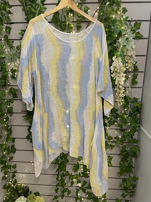 White blue stripy
