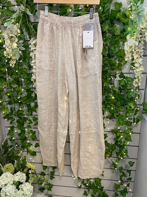 Beige tempered trousers