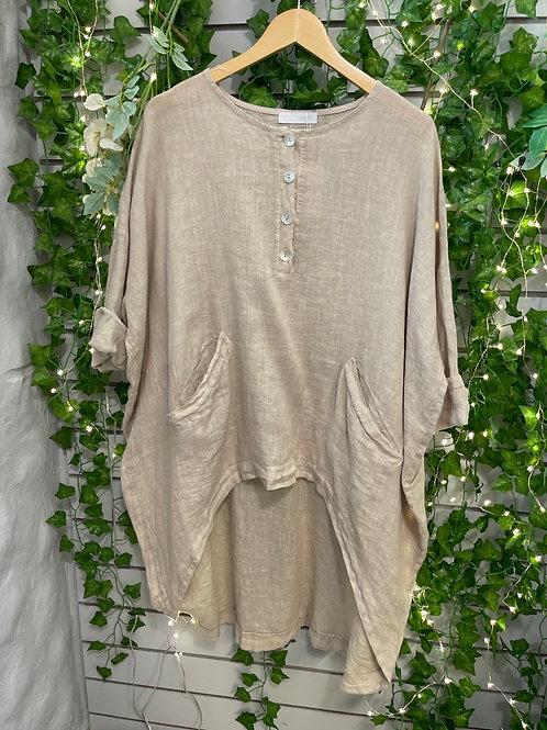 Button high low shirt  beige