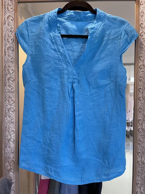 Aqua V neck linen  top