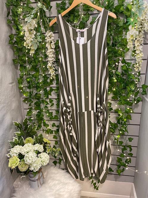 Stripy dress khaki