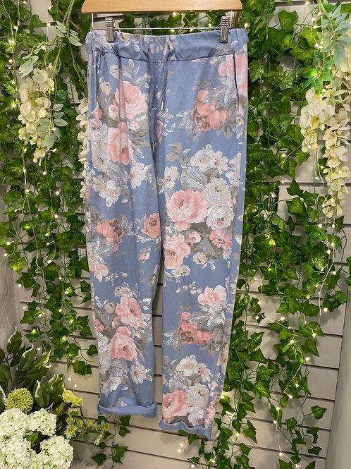 Plus size flower joggers blue