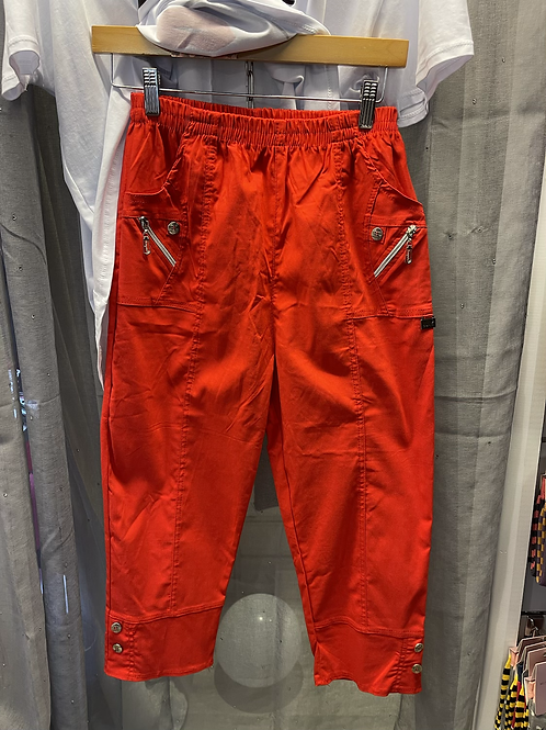 Red cherry blossom trousers
