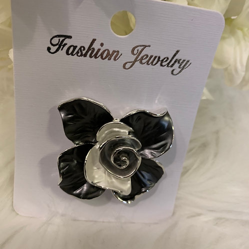 Grey and silver rose magnetic brooch