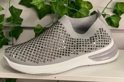 Grey sparkle trainers