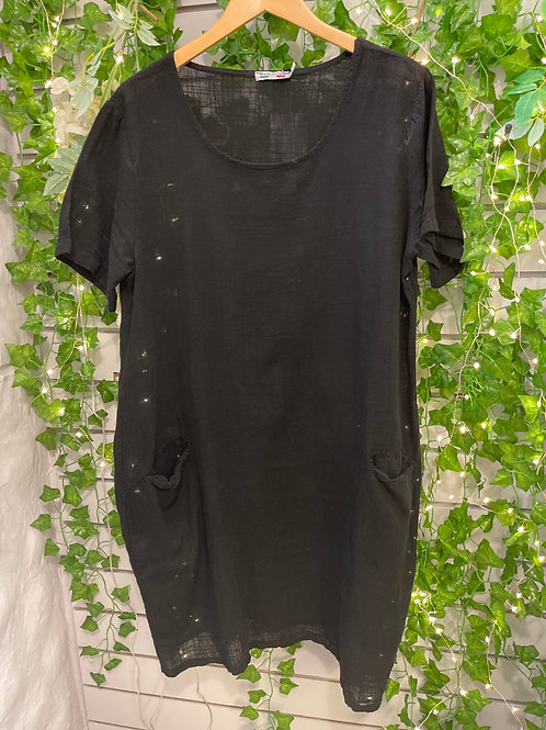 Front pocket linen dress black
