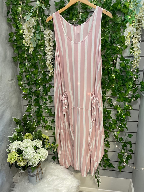 Stripy dress pink