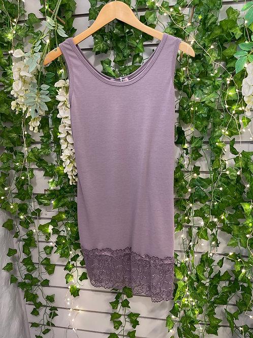 Lace vest top mauve regular