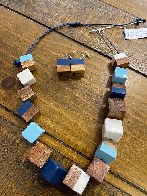 Blues cube necklace