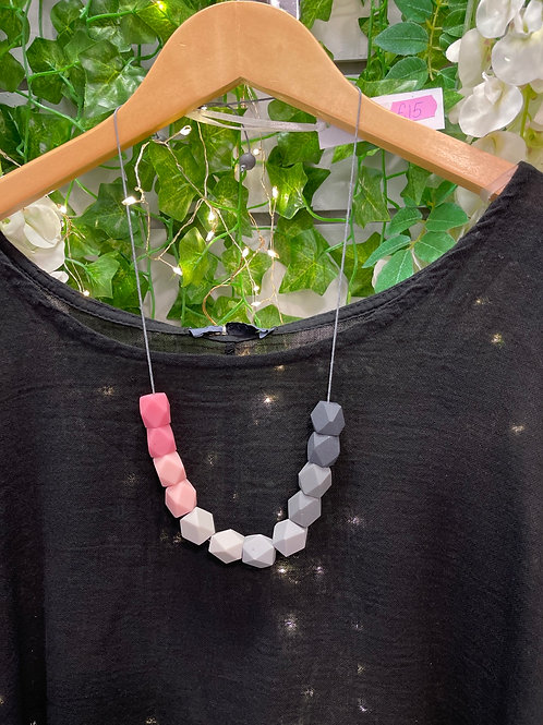 Hexagon cube necklace pinks
